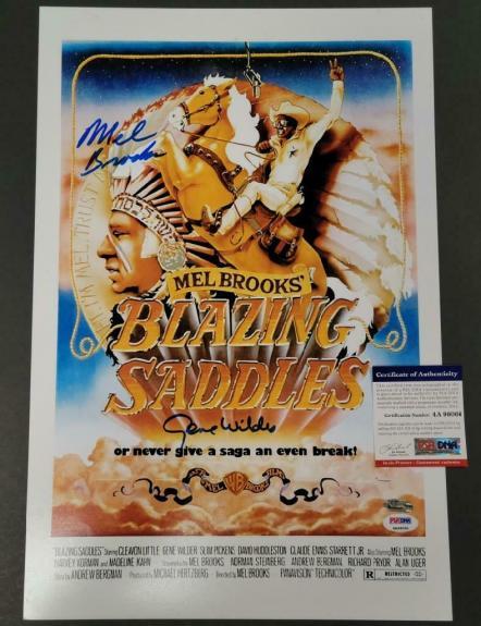 Gene Wilder Mel Brooks signed Blazing Saddles 12x18 Movie Poster Photo (B) ~ PSA