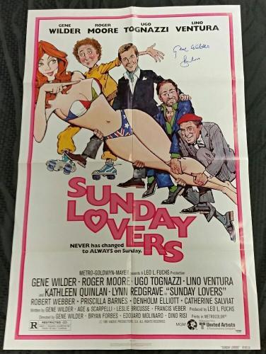 GENE WILDER & ROGER MOORE Signed SUNDAY LOVERS Original  27x40 Movie Poster PSA