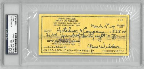 Gene Wilder Signed Authentic Autographed Check Slabbed PSA/DNA #83582906