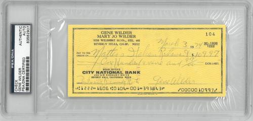 Gene Wilder Signed Authentic Autographed Check Slabbed PSA/DNA #83582907
