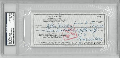 Gene Wilder Signed Authentic Autographed Check Slabbed PSA/DNA #83582908