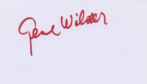 Gene Wilder Signed Autographed 3x5 Index Card Willy Wonka Young Frankenstein