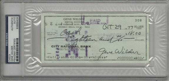 Gene Wilder Signed Autographed Personal Check Willy Wonka #308 1977 PSA/DNA