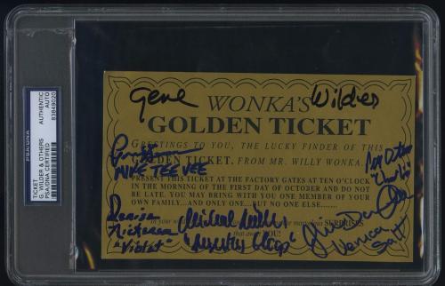Gene Wilder Signed Willy Wonka Golden Ticket Psa Dna Denise Nickerson Rare!!