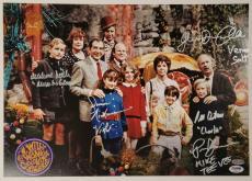 GENE WILDER + Willy Wonka Kids x6 Cast signed 12x18 Garden Photo PSA/DNA LOA