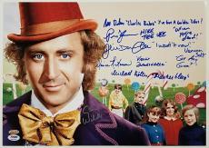 GENE WILDER + Willy Wonka Kids x6 Cast signed 12x18 Photo QUOTES PSA/DNA LOA