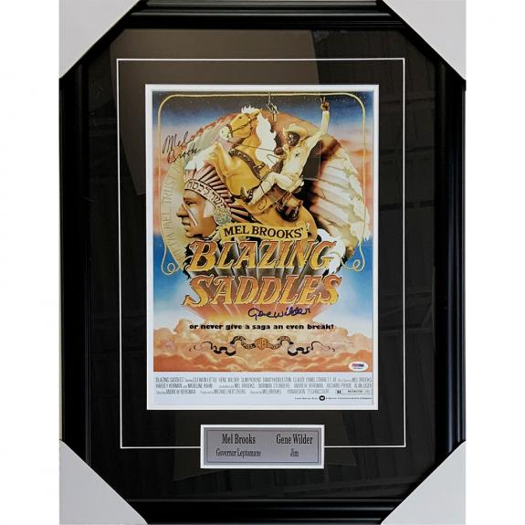 Gene Wilder/Mel Brooks Multi-Signed Blazing Saddles Framed 11X17 Poster