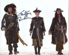 GEOFFREY RUSH HAND SIGNED 8x10 COLOR PHOTO+COA      WITH KNIGHTLEY+JOHNNY DEPP