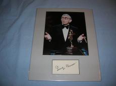 GEORGE BURNS - COMEDIAN/AWARD WINNING ACTOR/BEST SELLING WRITER (Passed Away 1996) MATTED11x14 with  PHOTO and Signed 4x2.5 Index Card