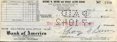 George Burns Hand Signed Personal Check From 1942+coa           Hollywood Legend