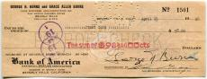 GEORGE BURNS & JIMMY CASH Singer Dual Signed Check Gracie Allen Show w/Photo JSA
