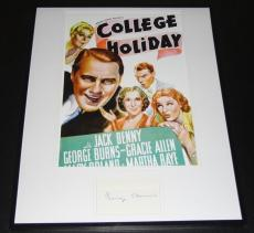 George Burns Signed Framed 16x20 Poster Photo Display College Holiday