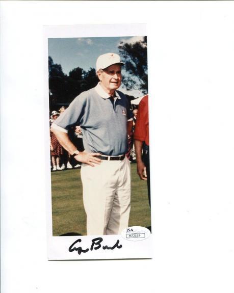 GEORGE BUSH HAND SIGNED 3x8 COLOR PHOTO        FORMER US PRESIDENT     JSA