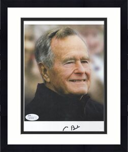 GEORGE BUSH HAND SIGNED 8x10 COLOR PHOTO    RARE     GREAT US PRESIDENT     JSA