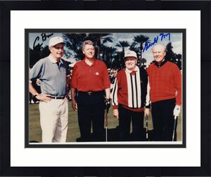 GEORGE BUSH+GERALD FORD HAND SIGNED 8x10 COLOR PHOTO    WITH HOPE+CLINTON    JSA