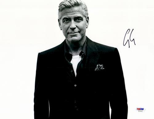 """George Clooney Autographed 11""""x 14"""" Black Shirt With White Background Photograph - PSA/DNA COA"""