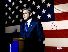 """George Clooney Autographed 11""""x 14"""" Ides of March In Front of American Flag Photograph - PSA/DNA COA"""