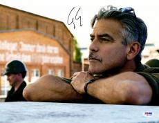 """George Clooney Autographed 11""""x 14"""" Monuments Men Leaning Chin On Hands Photograph - PSA/DNA COA"""