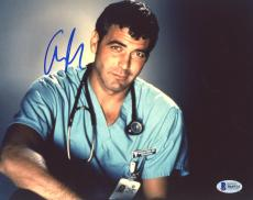 "George Clooney Autographed 8"" x 10"" ER Wearing Scrubs & Stethoscope Photograph - Beckett COA"