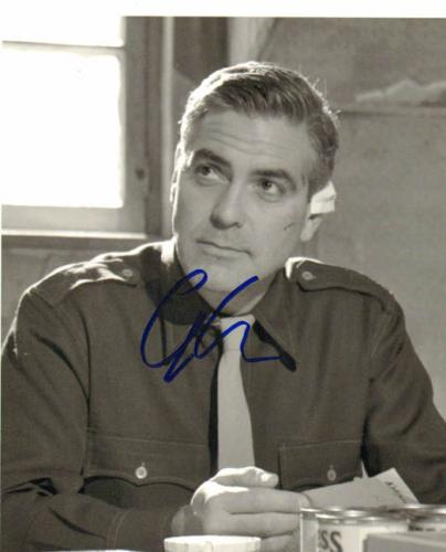 George Clooney Autographed BnW Photo UACC RD PSA/DNA AFTAL