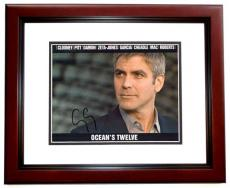 George Clooney Autographed OCEANS 12 8x10 Photo MAHOGANY CUSTOM FRAME