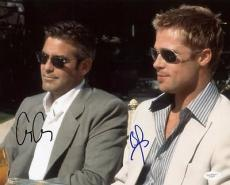 George Clooney & Brad Pitt Oceans 11 Signed 11x14 Photo Jsa #f25465