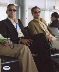 George Clooney & Brad Pitt Oceans 11 Signed 8x10 Photo Psa/dna #q45562