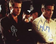 George Clooney & Brad Pitt Oceans Eleven Signed 8x10 Photo Jsa #e82374