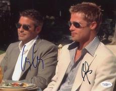 George Clooney & Brad Pitt Oceans Eleven Signed 8x10 Photo Jsa #f47957