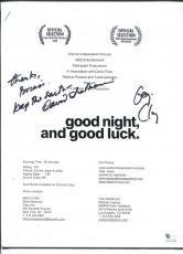 George Clooney David Strathairn Good Night Good Luck Signed Autograph Packet COA