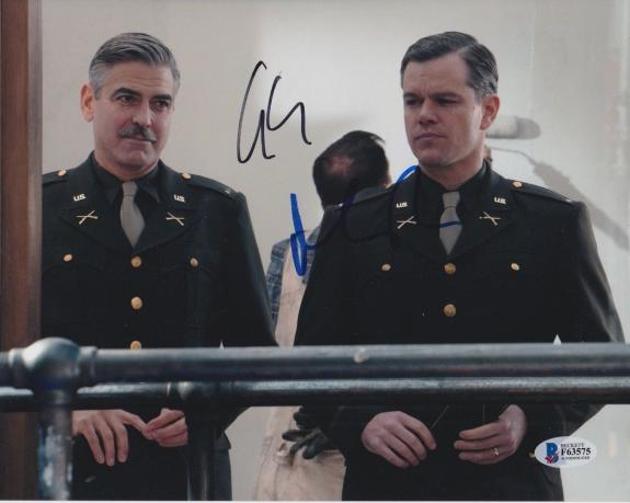 George Clooney Matt Damon Signed 8x10 Photo Monuments Beckett Bas Autograph Auto
