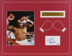 "George Foreman Autographed Matted Cut Piece with 8"" x 10"" Photograph and Plate"
