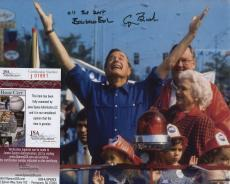 George H W Bush & Barbara Bush Signed Autographed Color Photo Jsa Coa 01851