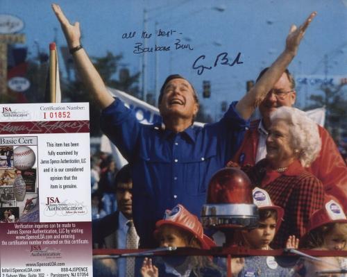 George H W Bush & Barbara Bush Signed Autographed Color Photo Jsa Coa 01852