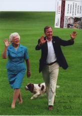 George H W Bush & Barbara Bush Signed Autographed Color Photo Jsa Coa Rare!!
