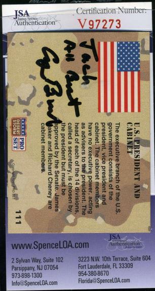 GEORGE H W BUSH JSA Coa Autograph 1991 Pro Set Signed