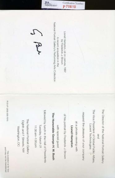 George H W Bush Jsa Hand Signed Invitation Authentic Autograph