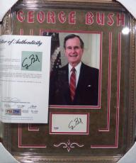 George H W Bush President Psa/dna Loa Signed Autographed Double Matted & Framed