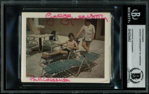 George Harrison & Pattie Harrison Signed 3.5x4 Photo BAS Slabbed