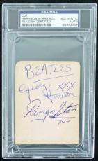 George Harrison, Ringo Starr & Tommy Roe Signed 3X4 Cut PSA Slabbed