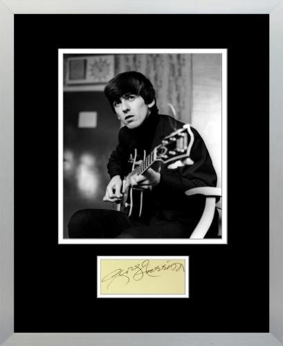 George Harrison Signed Autograph Display, The Beatles. PSA Grade 8