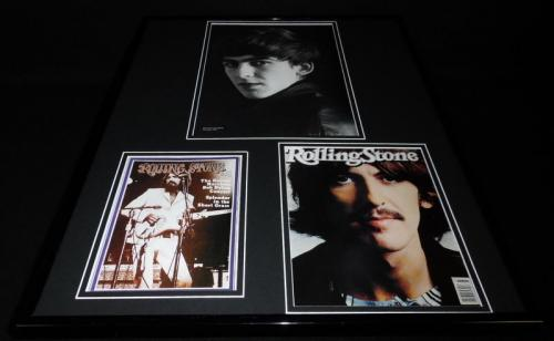 George Harrison The Beatles 16x20 Framed Rolling Stone Cover Display