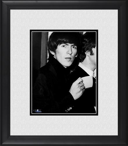 """George Harrison The Beatles Framed 8"""" x 10"""" Holding Teacup Photograph"""