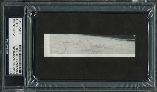 George Harrison The Beatles Signed 1x4.25 Cut Signature PSA Slabbed