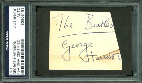 George Harrison The Beatles Signed 2.25x3 Cut Signature PSA Slabbed