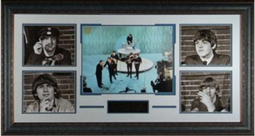 George Harrison unsigned Beatles 5 Photo 40x23 Leather Framed Ed Sullivan Show