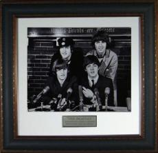 George Harrison unsigned The Beatles Vintage B&W 11x14 Photo Leather Framed (music/entertainment)