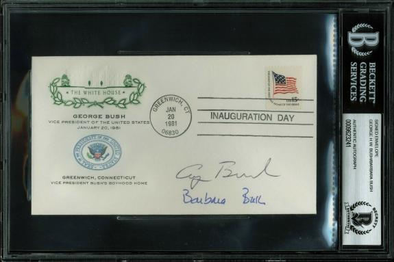 George H.W. Bush & Barbara Bush Signed 1981 First Day Inauguration Cover BAS