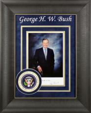 """George H.W. Bush """"Best Wishes"""" Signed & Framed 7x9.5 Photo BAS #A03164"""