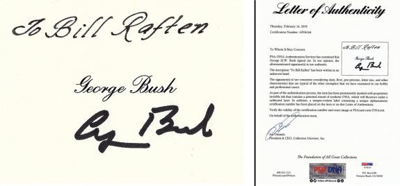 George H.W. Bush - George Bush Sr. Signed - Autographed 3x2 inch Index Card - Deceased 2018 - 41st U.S. President - PSA/DNA FULL Letter of Authenticity (LOA)